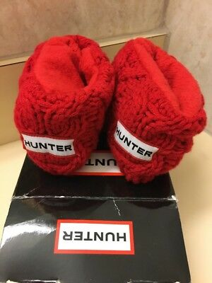 New Hunter Red Fleece Kids Chunky Cable Cuff Red Welly Socks Size MXS $35