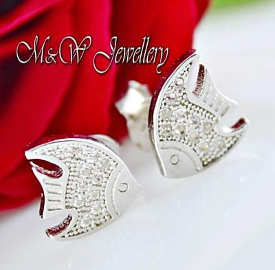925 Sterling Silver Rhodium Plated FISH Stud Earrings Clear Cubic Zirconia 8mm