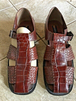 0e9784393ed Men s STACY ADAMS Dress Casual Fisherman Sandals BROWN Closed Toe LEATHER  Sz 14