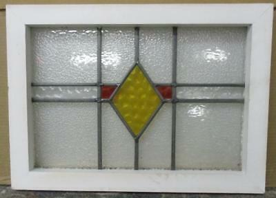 """OLD ENGLISH LEADED STAINED GLASS WINDOW Simple Geometric 19.75"""" x 14.5"""""""