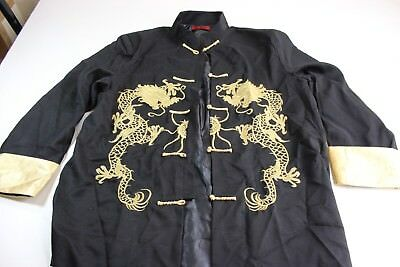 Lian Lin Oriental Asian Embroidered Gold Dragon Lounge Jacket Shirt Large L