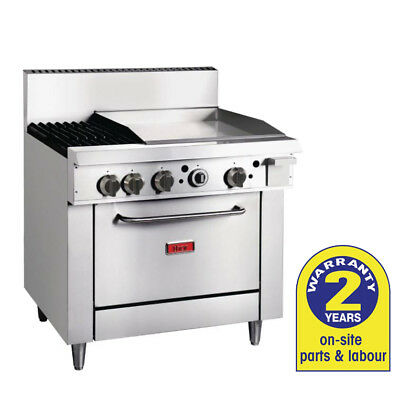 Gas Oven with 600mm Griddle & 2 Burners LPG Grill Hotplate Thor Commercial NEW
