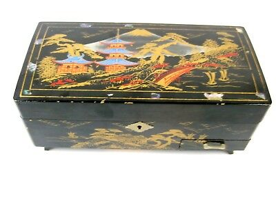 Vintage Asian Chinese Oriental Wooden Jewelry Trinket Music Box with Key