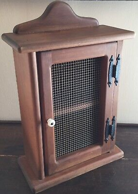 Old Vtg Solid Wood Spice Wall Mount Cabinet Cupboard Wire Cover Screen Door
