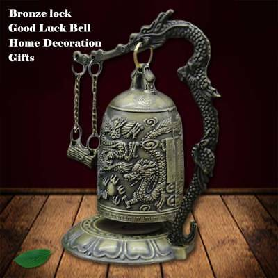 Vintage Bronze Lock Dragon Carved Buddhist Bell Chinese Artware Ornaments Statue