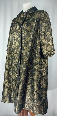 Vtg 60s Swing Coat Metallic Brocade Evening Black Gold Floral Lord & Taylor 6 8