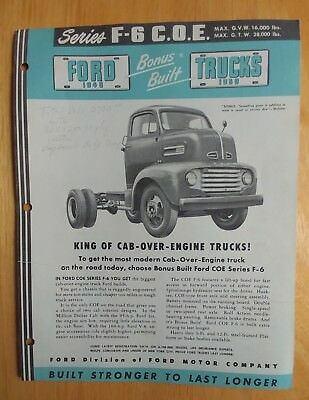 1949 Ford Truck C.o.e. Series F-6  Brochure Cab Over Engine F-6 Series