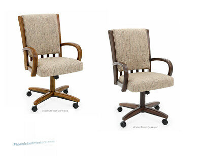 NEW Set of 4 Caster Dining Chairs on Rollers in Oak or Walnut FABRIC or LEATHER