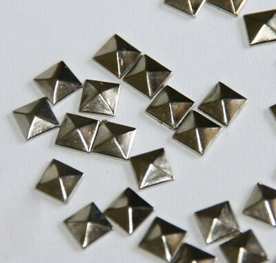 "100pc Hotfix Iron On, 7mm Flat Back Silver Pyramid Studs - 1/4"" FlatBack GluM9F2"