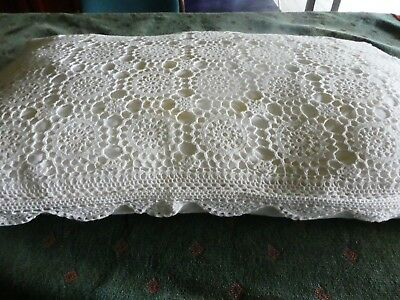 Pair Vintage White Crocheted Lace  Pillowslips - Free Postage