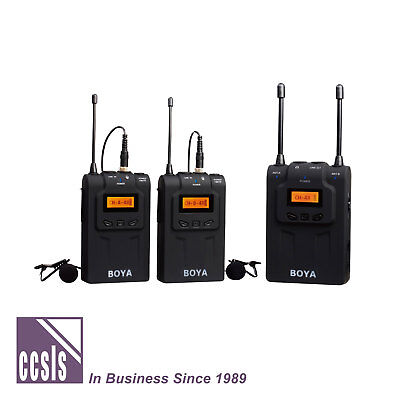 Boya BY-WM8 Dual Channel UHF Wireless Microphone System with Lapel Microphones