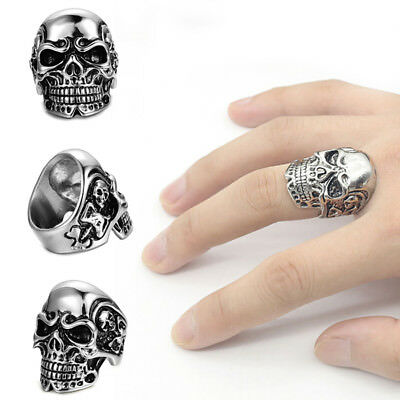 Skull Heads Men's Rings Biker Band Rock Fashion New Cool Gothic Jewelry Gifts