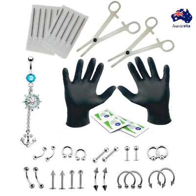 PRO 16G Body Piercing Kit Needle Nipple Tongue Eyebrow Nose Lip Ring Clamps Tool