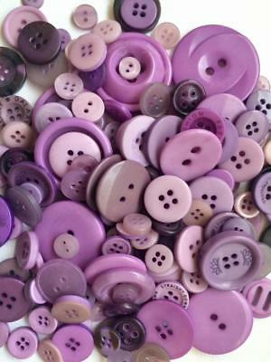 BB BUTTONS BULK MIXED LOT pack of 100 PURPLE sewing craft acrylic button mix