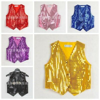 Boys Girls Sequined Vest Party Dance Show Costumes Waistcoat Modern Dancewear