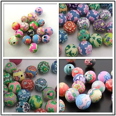 Mixed Assorted Round Fimo Polymer Clay Beads Flower 6mm,8mm,10mm,12mm,15mm