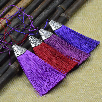 """10pcs 3.2"""" Polyester Silk Tassel Charms For Earrings Chinese Knot Jewelry Making"""