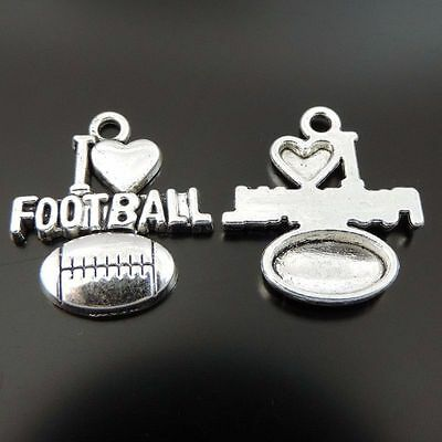 40PCS Antique Silver Tone Alloy I LOVE FOOTBALL Charms Pendant 20*18*2mm