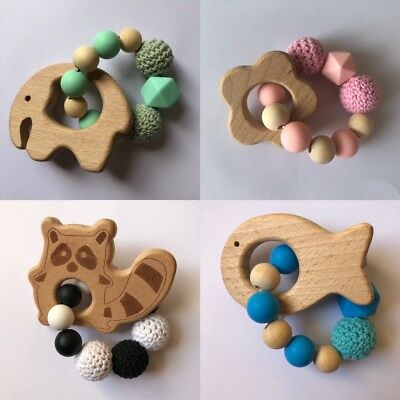 Wooden Natural Crochet Baby Infant Teether Teething Ring Bracelet Toys UK Wood