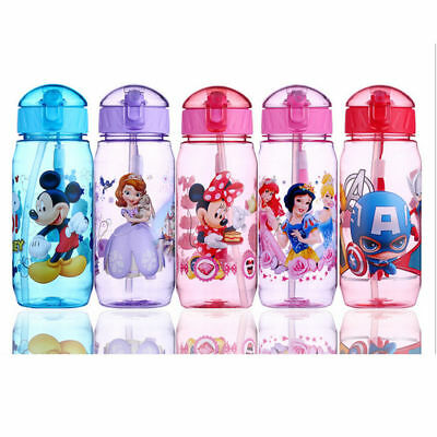 Baby Kids Children Clear Feeding Drinking Water Straw Bottle School Sippy Cup