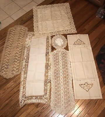 6 Antique Vintage Mixed Lot Of Table Runner Dresser Scarf  Dolly