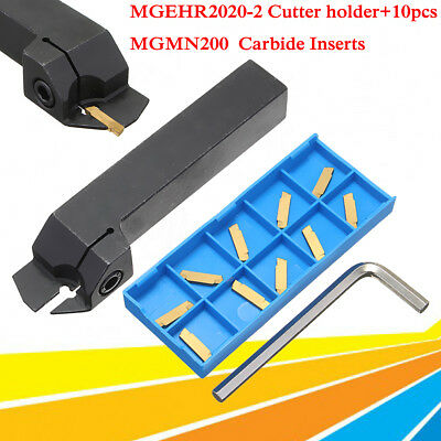 MGEHR2020-2 Tool Holder+10x MGMN200 Carbide Inserts External Grooving Cut-Off