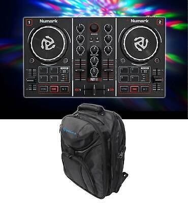 Numark Party Mix Virtual DJ Controller w/Built In Light Show+Sound Card+Backpack