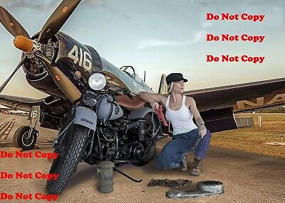 Harley Davidson Motorcycle Airplane Pinup Girl 8X10 Photo Man Cave Sign PIC PIX