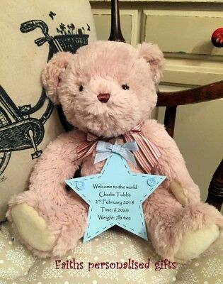 Keepsake Personalised Bear With Plaque*** Birthdays/Birth /Christening**New Born