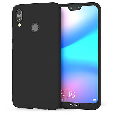 Huawei P20 Lite Case Slim Silicone Ultra Soft Gel Best Phone Cover - Matte Black