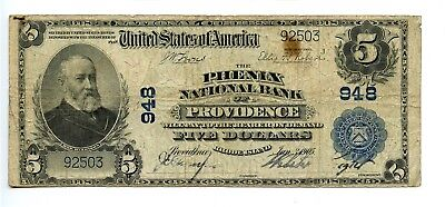 $5 1902 National Currency Phenix Bank Providence RI Large US Note AA0875