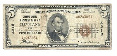 $5 Central United Cleveland OH National Currency Bank 1929 US Small Note AA0882