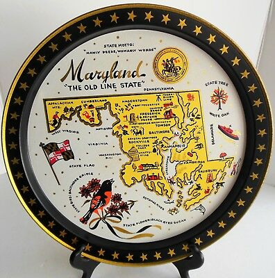 Vintage Maryland Old Line State Fabcraft Tray Historic Eastern Shore Cabin Decor