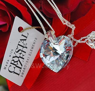 925 Sterling Silver Necklace Pendant Crystals From Swarovski® HEART- Crystal CAL
