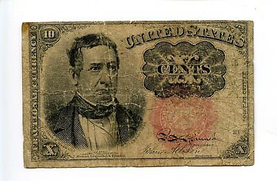 Fifth 5th Issue 10C Ten Cent Fractional Currency Red Creased Tear 1874 AA0941