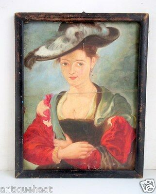 Antique Old Fine Hand Portrait Beautiful English Lady Oil Canvas Painting Framed