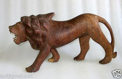 Antique Old Collectible Rare Hand Carved Rose Wood Big Size Lion Figure Statue