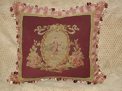 ROMANTIC ANTIQUE 19th c VICTORIAN NEEDLEPOINT TAPESTRY PILLOW FIGURAL