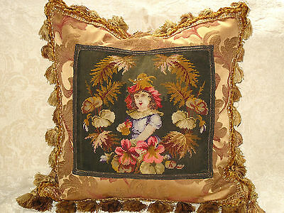 19TH c ANTIQUE VICTORIAN NEEDLEPOINT TAPESTRY PILLOW FIGURAL WOOLWORK