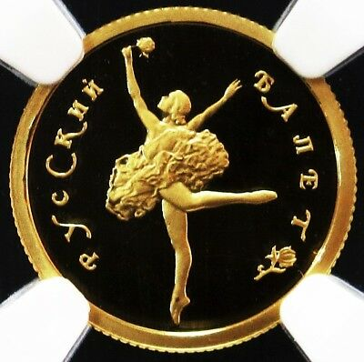 1993 Gold Russia 25 Roubles Ballet Ballerina Coin Ngc Proof 69 Ultra Cameo