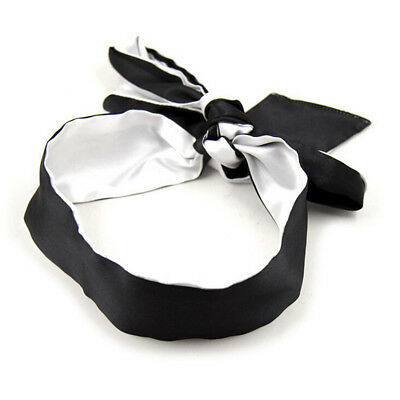 Sexy Soft Silk Satin Eye Mask Shade Blindfold Ribbon Reversible Bondage BLK/SIL