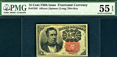 Fr. 1265 10¢ Fifth Issue PMG About Uncirculated 55 EPQ