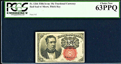 10¢ Fifth Issue PCGS Choice New 63 PPQ SHORT THICK KEY Fr 1266 Make Offer