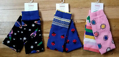 NWT HANNA ANDERSSON Girl's Knee Socks LADYBUGS, SPACE, MIX UP FLORAL Sz 12-1Y