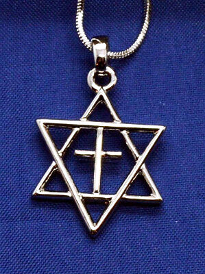 Silver plated Jewish star of David with cross messianic necklace Israel pendant