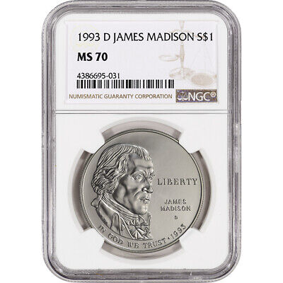 1993-D US Bill of Rights Commemorative BU Silver Dollar - NGC MS70