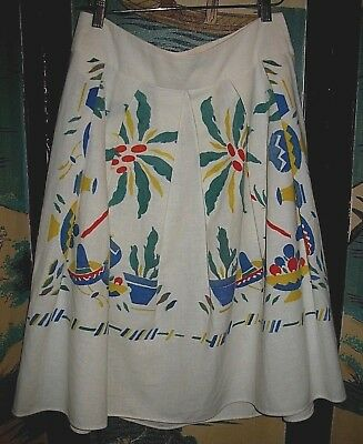 """VTG COTTON PLEATED SKIRT NOVELTY PRINT Peppers Cactus Pottery Hats WAIST 30"""""""