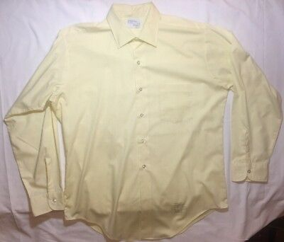 Vintage Truval Easy Care 15 1/2 Mens Yellow Dress Shirt 1950's Convertible Cuff