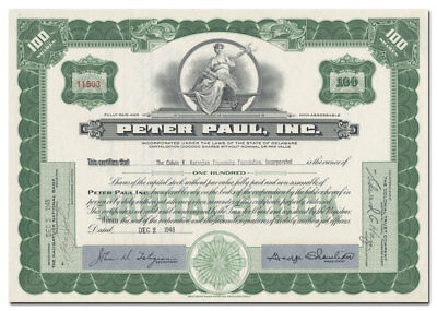 Peter Paul, Inc. Stock Certificate (Famous Candy Maker!)