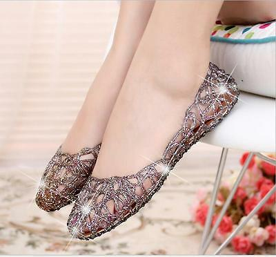 Womens Ventilate Crystal Shoes Jelly Hollow Sandals Flat Shoes Size 5-9 Hot Sale